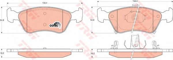 Запчасть GDB3163 TRW Гальмівні колодки дискові TOYOTA Avensis/Avensis Estate/Wagon фото