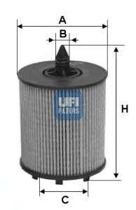 Запчасть 25.024.00 UFI Фильтр масляный OPEL ASTRA II 2.2 00-, VECTRA B 2.2 00- (пр-во UFI) фото
