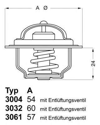 Запчасть 3004.88D1 WAHLER Термостат FORD; HYUNDAI; ISUZU; NISSAN; OPEL (пр-во Wahler) фото