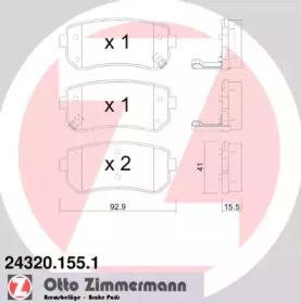 Запчасть 243201551 ZIMMERMANN Гальмiвнi колодки дисковi фото